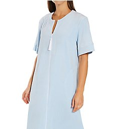 Amanda Rich Short Sleeve Stretch Terry Velour Long Zip Robe 14ss-94