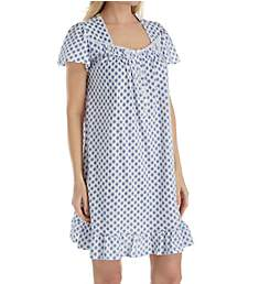 Aria Blue Print Cotton Short Sleeve Short Nightgown 8017837