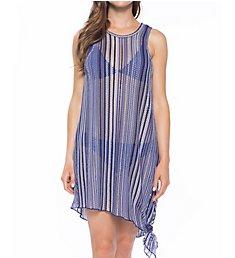 Becca Pierside Stripe Crochet High Neck Dress Cover Up 8961971