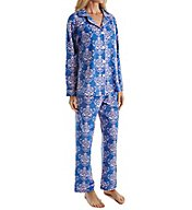 BedHead Pajamas Navy Painted Damask Long Sleeve PJ Set 2950