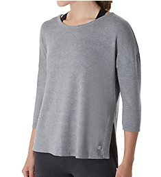 Calvin Klein 3/4 Sleeve Pullover Top with High Side Vents PF8T288