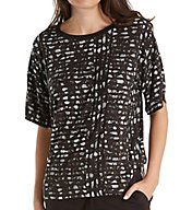 DKNY Lace Effects Short Sleeve Top 2419234