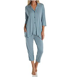 Donna Karan Sleepwear Notch Collar Capri PJ Set D296907