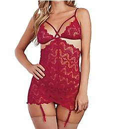 Dreamgirl Strappy Lace Chemise with Garters and G-string 11475