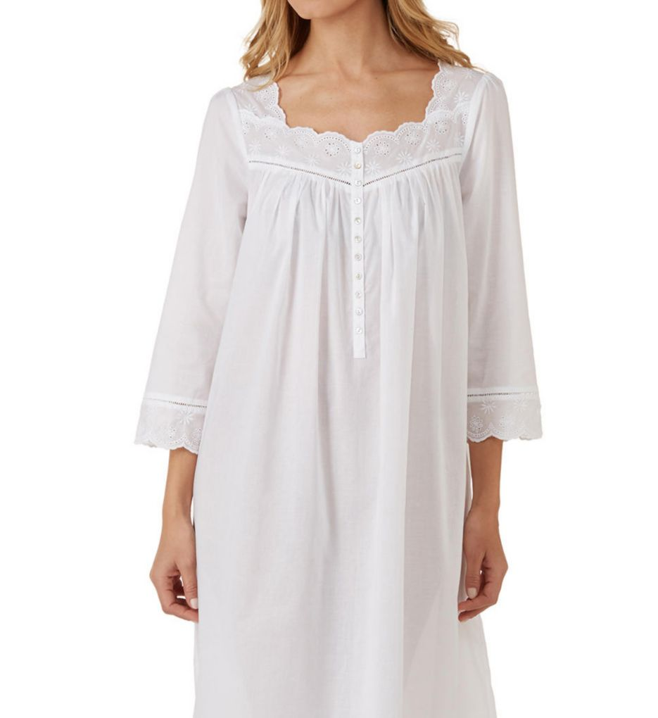 Eileen West Eyelet Floral Long Sleeve Ballet Nightgown 5019830