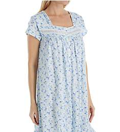 Eileen West Blue Spring Floral Short Jersey Nightgown 5019865