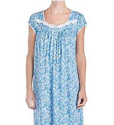 Eileen West Blue Floral Cotton Modal Waltz Nightgown 5019877