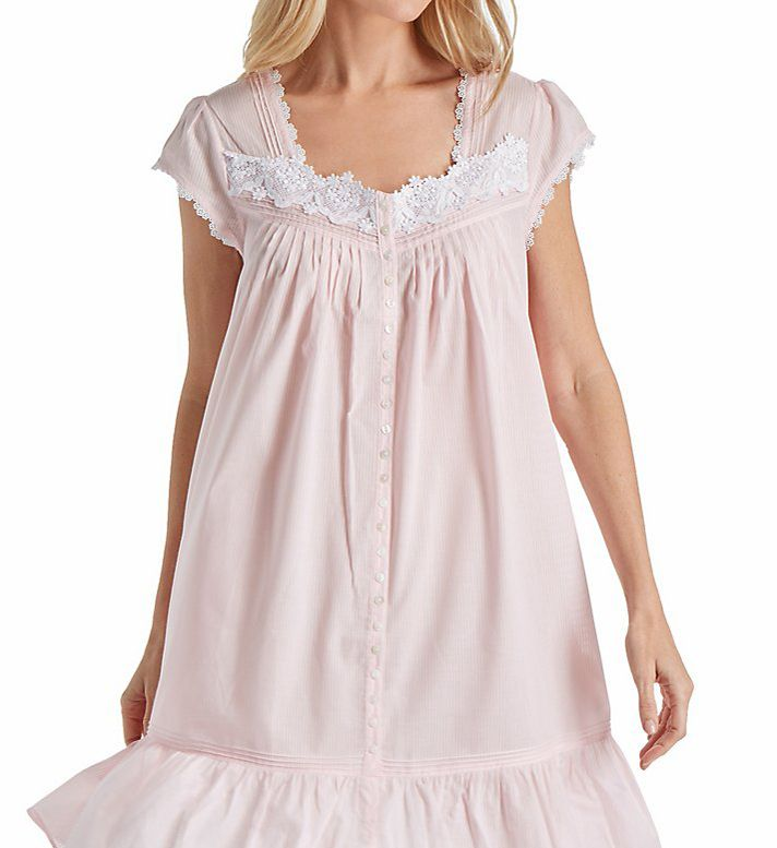 Eileen West Rose Solid Short Button Front Coat/Nightgown 5116169