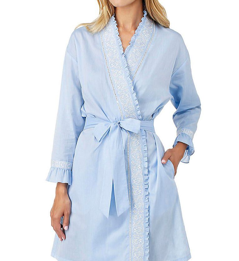 Eileen West Chambray Embroidered Short Wrap Robe 5116178
