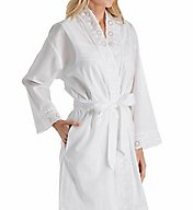 Eileen West Embroidered Cotton Short Wrap Robe 5116181