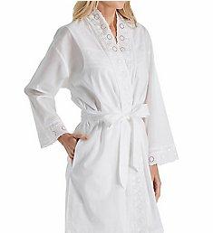 Eileen West Embroidered Cotton Short Wrap Robe 5116181