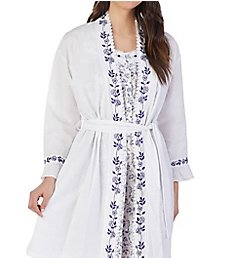 Eileen West Indigo Scroll Seersucker Short Wrap Robe 5119872