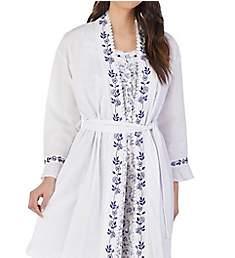 Eileen West Indigo Scroll Seersucker Short Wrap Robe 5119872