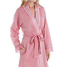 Eileen West Chambray 100% Cotton Short Wrap Robe 5119906