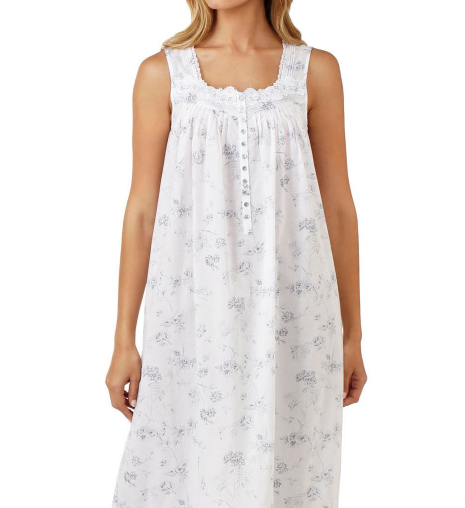 Eileen West Grey Floral Cotton Lawn Sleeveless Nightgown 5216195