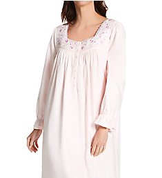 Eileen West Cotton Flannel Embroidered Long Sleeve Long Gown 5220129
