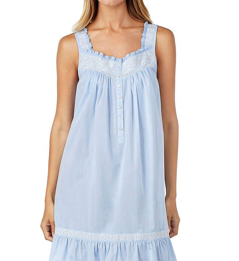 Eileen West Chambray Embroidered Short Chemise 5316178