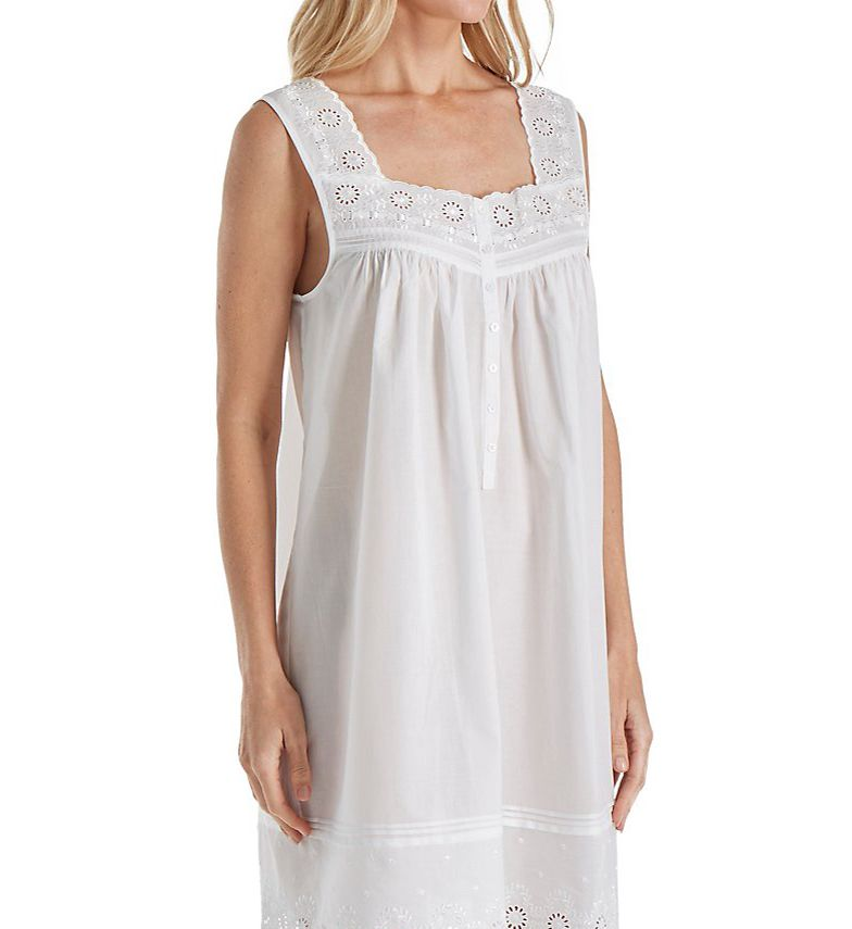 Eileen West Embroidered Cotton Short Chemise 5316181