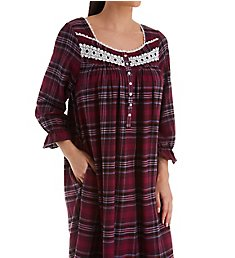 Eileen West Holiday Plaid Flannel Ballet Long Sleeve Nightgown 552003H