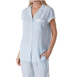 Eileen West Seaglass Stripe Notch Collar Cap Sleeve Pajama 5719952