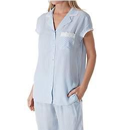 Eileen West Seaglass Stripe Notch Collar Cap Sleeve Pajama 5719952