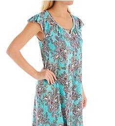 Ellen Tracy Turquoise Damask Short Sleeve Chemise 8022914