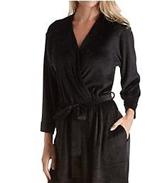 Ellen Tracy Essential Velour Short Robe with Headband 8218558