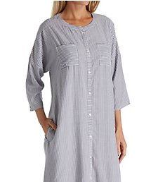 Ellen Tracy Blue Stripe 3/4 Sleeve Button Front Long Tunic 8818608