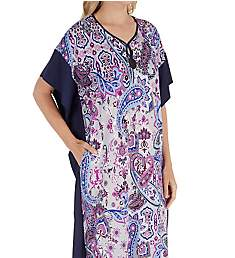 Ellen Tracy Purple Paisley Long Caftan 8818672
