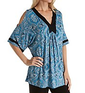 Ellen Tracy Falling for Blue Caftan PJ Set 8918534