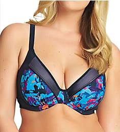 Elomi Abstract Convertible Underwire Gathered Swim Top ES7073