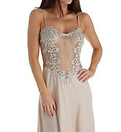 Flora Nikrooz Showstopper Charmeuse Long Gown With Lace 7533l