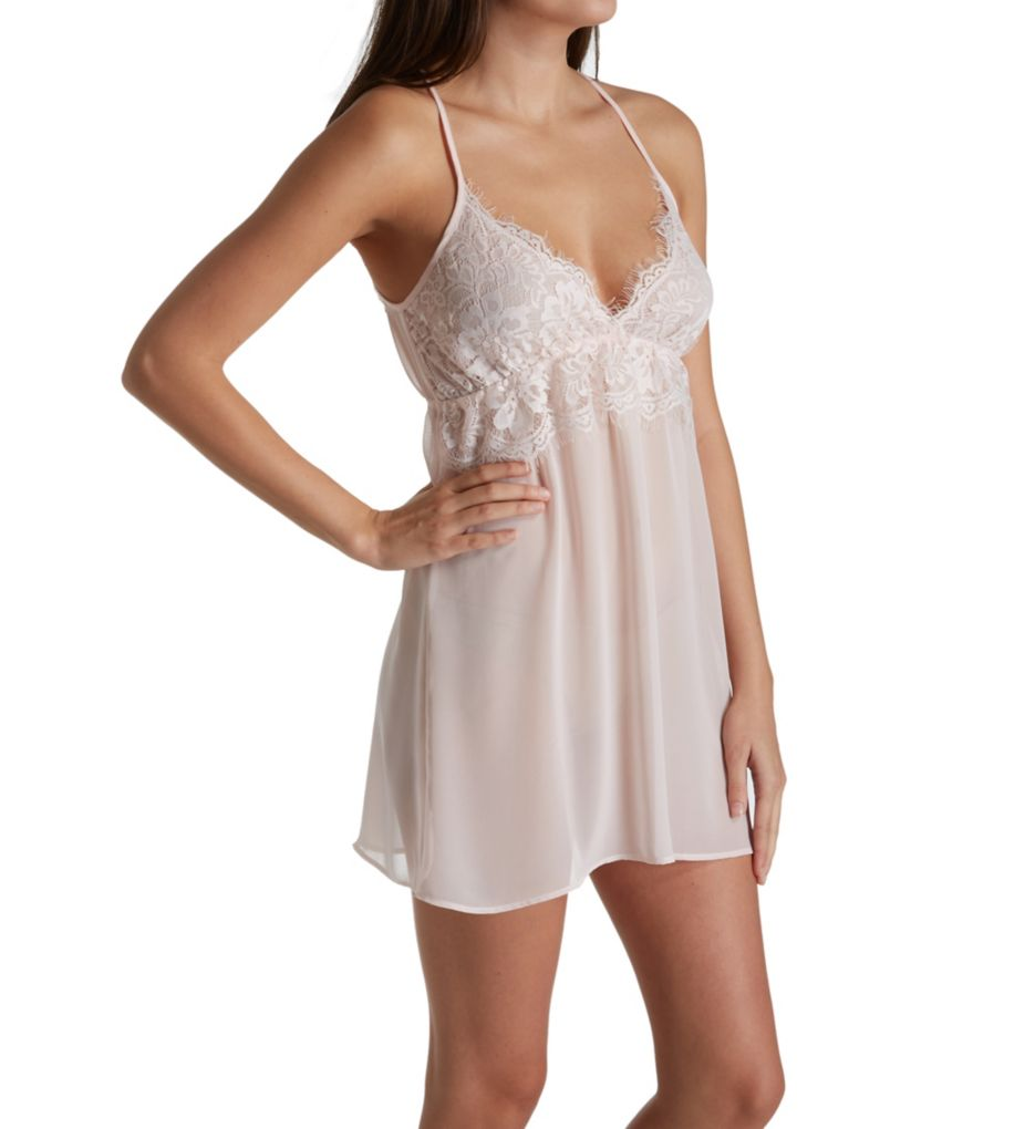 Flora Nikrooz Harmony Chiffon Chemise with Chantilly Lace T80526
