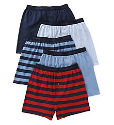 Hanes Premium Cotton Assorted Knit Boxers - 5 Pack 709BP5