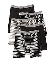 Hanes Premium Cotton Solid-Stripe Boxer Briefs - 5 Pack 76925S