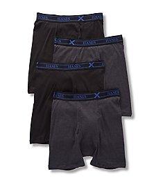 Hanes Combed Cotton Black/Grey Boxer Briefs - 4 Pack YXBBB4