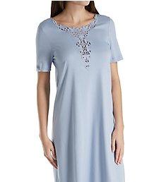 Hanro Jasmin Short Sleeve Lace Neckline Gown 76361