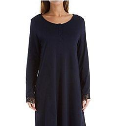 Hanro Flora Long Sleeve Henley Sleep Gown 76612