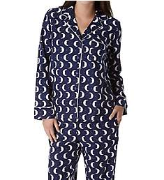 Kate Spade New York Holiday Moons Brushed Twill Long PJ Set 91650F3