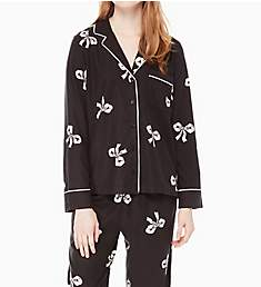Kate Spade New York Holiday Bows Brushed Twill Long PJ Set 91650F4
