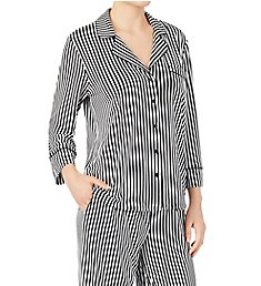Kate Spade New York Brushed Jersey Striped Long PJ Set KS91862