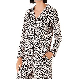 Kate Spade New York Sketch Leopard Sweater Knit Button Front PJ Set S82055B