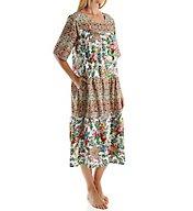 La Cera 100% Cotton Short Sleeve Lounge Dress with Pockets 2209