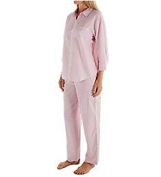 Lauren Ralph Lauren Sleepwear Classic Woven 3/4 Sleeve PJ Set LN92000