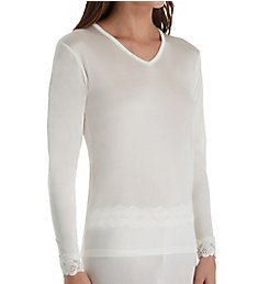 Linda Hartman Silk Knit Long Sleeve Top with Lace Cuff 774029