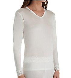 Linda Hartman Silk Knit Long Sleeve Top with Lace Cuff 774029