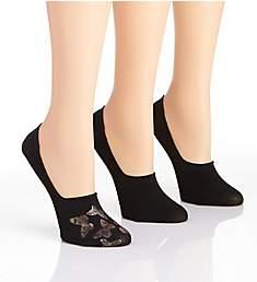 MeMoi Butterfly Metallic High-Cut Liner Sock - 3 Pack MWF-069