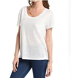 Michael Stars Linen Knit Short Sleeve Scoop Neck with Pocket Tee LK9180