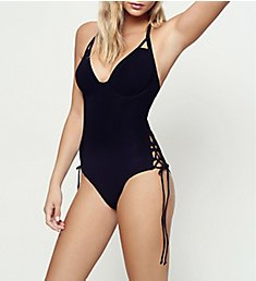 Miss Mandalay Icon Underwire Halter Plunge One Piece Swimsuit IC08UHS
