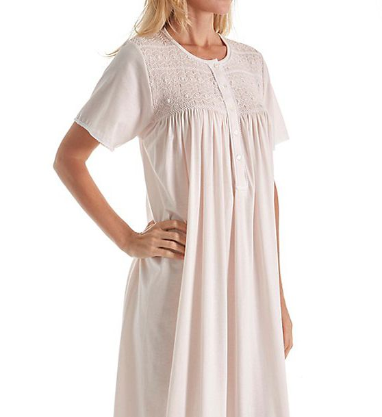 P-Jamas Ines Smocked Short Sleeve Nightgown Ines